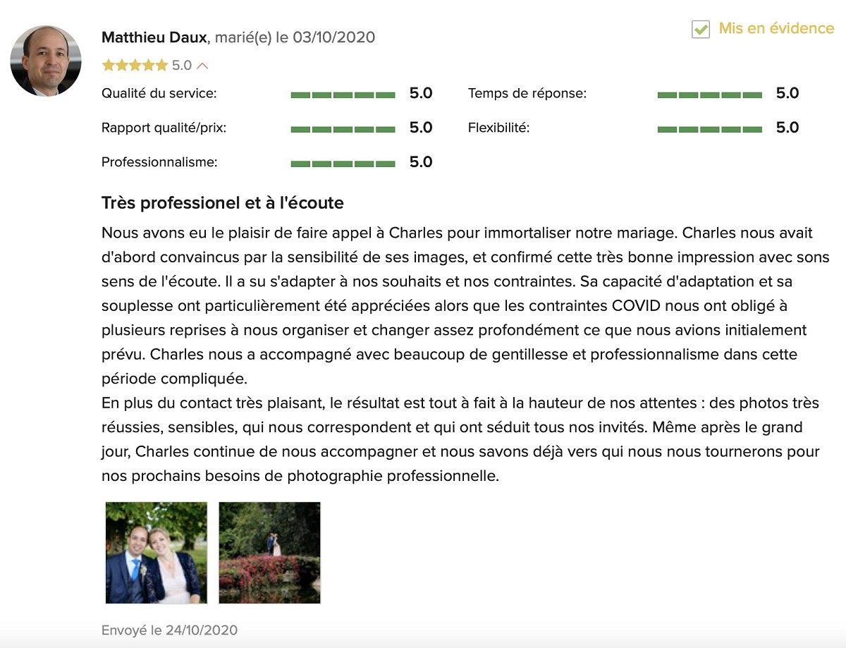 Témoignage mariage 2020 photographe Charles Doisne dans les Yvelines
